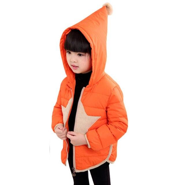 Curto com capuz Para Baixo Casaco Para As Meninas Da Moda Roupas Infantis Menina Roupas Quentes Unisex Luz Zipper Casacos de Inverno Para Meninos