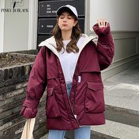 PinkyIsBlack 2019 Long Parkas Winter Jacket Women Hooded Windproof Military Clothing Female Big Pocket Thicken Winter Coat Women