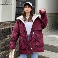 PinkyIsBlack 2019 Long Parkas Winter Jacket Women Hooded Windproof Military Clothing Female Big Pocket Thicken Winter Coat Women