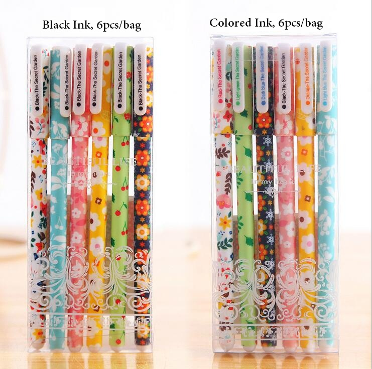 (6pcs to sell)  Kawaii Cartoon Gel Pen Black & Colored Writing Pens for Kids School Office Accessory Korean Stationery Supplies