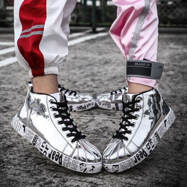 Sepeti femme 2019 Yüksek Top koşu ayakkabıları kadın Koşu spor ayakkabı kadın Düz yarım çizmeler deri sneakers erkekler zapatos de mujer