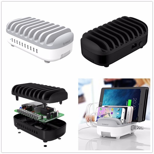 ORICO 10 Ports USB Charger 120W 5V2.4A Smart Professional Charging Station Dock with Holder Stand for Iphone 7 6s Power Bank