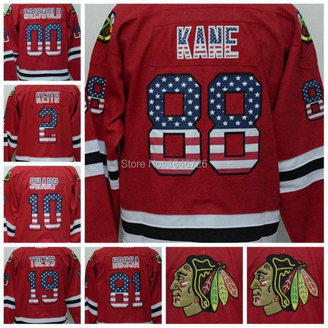 e56d81ab0 Free shipping Chicago Blackhawks Jerseys USA Flag 19 Jonathan Toews 88  Patrick Kane 81 Hossa Men Red Authentic Ice Hockey Jersey