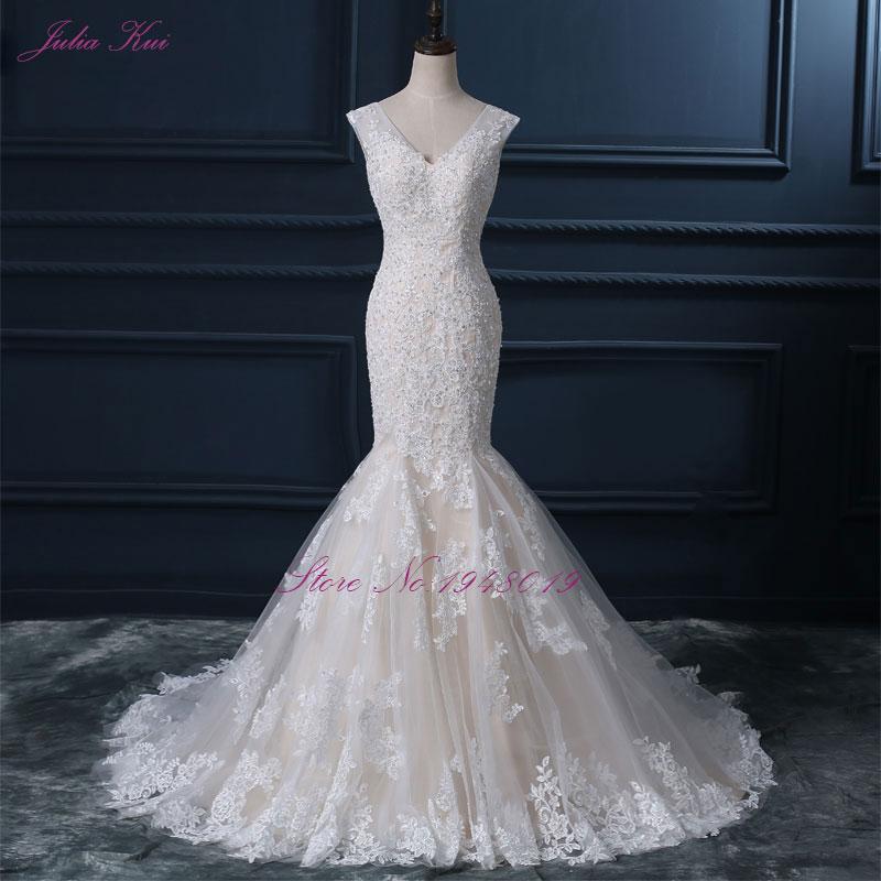 Fotos reales con cuello en V sirena vestido de novia apliques de - Vestidos de novia