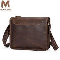 MONOLETH Retro Crazy Horse Cow Genuine Leather Messenger Bags Shoulder Men's Bag Handbag Male Crossbody Bags
