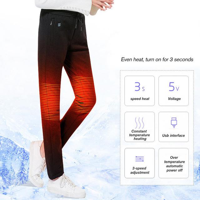2019 USB Heated Pants Women Heating Pants Sports Outdoor Hiking Skiing Winter Smart Fever Cotton Trousers Climbing 1