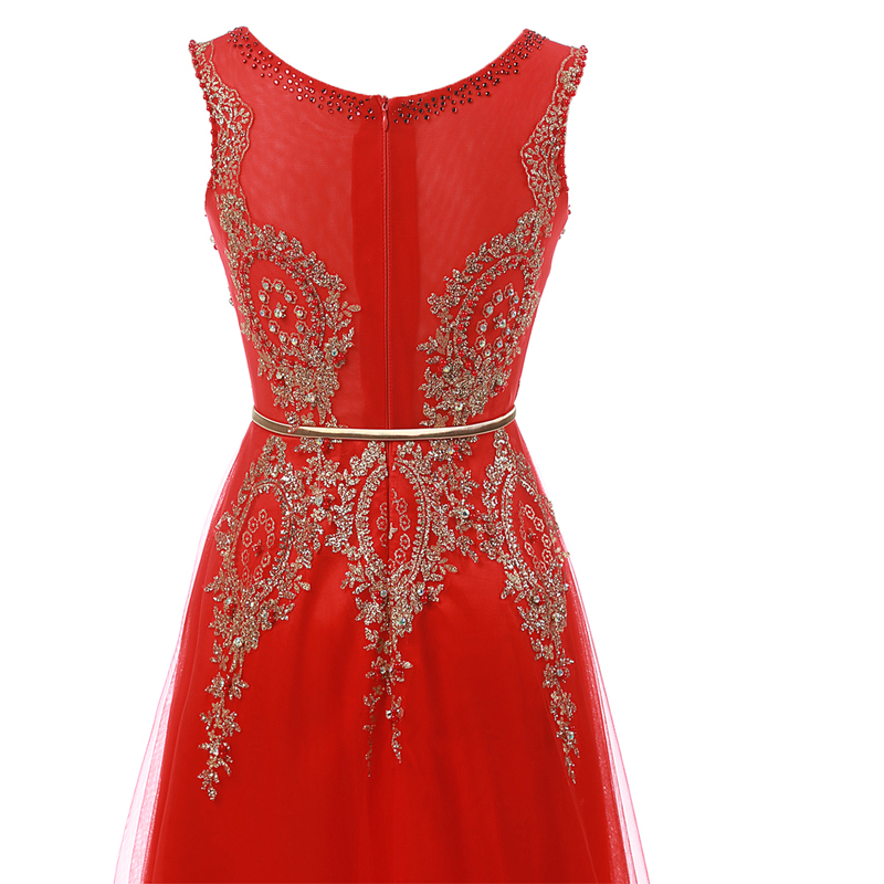 Champagne Long Elegant Appliques Beading Party Prom Dresses 4