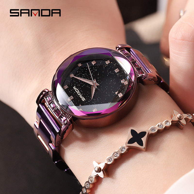 SANDA marque de luxe dame cristal montre femmes robe montre de mode Rose or Quartz montres femmes en acier inoxydable montres
