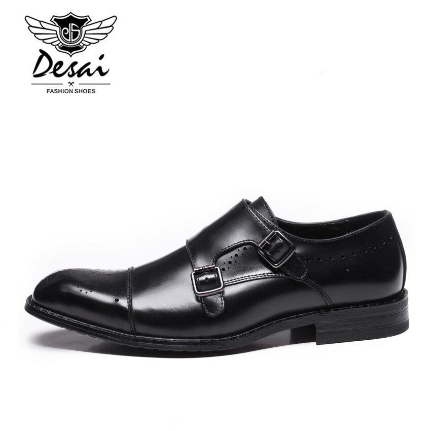 DESAI Neue Männer der Britischen Business Kleid Schuhe Aus Echtem Leder Formale Brogue Schuhe Männer Mönche Schuhe Doppel Schnalle Oxfords Schwarz-in Formelle Schuhe aus Schuhe bei  Gruppe 3