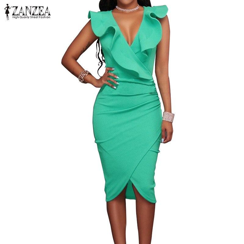 2017 Women Summer Dress Sexy Sleeveless V Neck Pencil Party Dresses Ladies Ruffles Bodycon Slim Midi