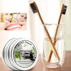 1PC Bamboo Toothbrush/10g Organic Activated Charcoal Powder for Natural Tooth Whitening & stain Remover Teeth Cleaning TSLM2