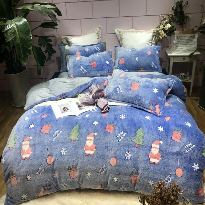 2018 Snowflake Velvet Warm Christmas Cartoon 4pcs Bedding Set Queen size Duvet Cover Bedsheet Pillowcase2018 Snowflake Velvet Warm Christmas Cartoon 4pcs Bedding Set Queen size Duvet Cover Bedsheet Pillowcase
