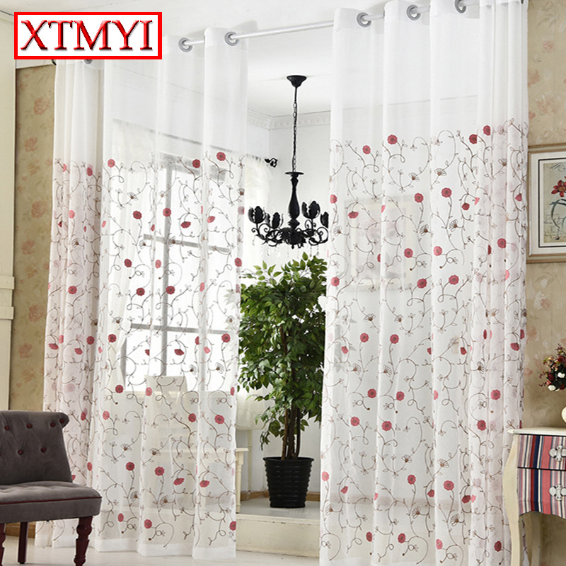 Pastoral Pink Embroidered Voile Curtains Bedroom Bedroom Sheer Curtains For Living Room