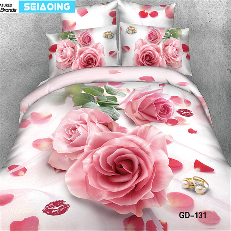 high quality cotton bedding set pink rose duvet cover+flat sheet+pillowcases 4/5pc bed linens room decor wedding bedspreads kinghigh quality cotton bedding set pink rose duvet cover+flat sheet+pillowcases 4/5pc bed linens room decor wedding bedspreads king