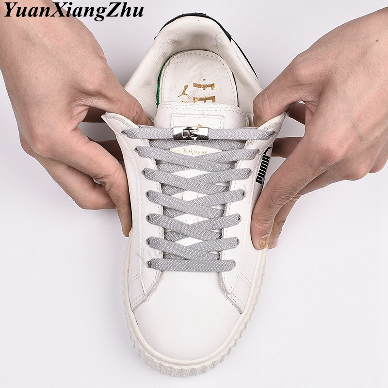New 1 Second Quick No Tie Shoe Laces Flat Cross Buckle Elastic ShoeLaces Kids Adult Unisex Sneakers Shoelace Lazy Laces Strings