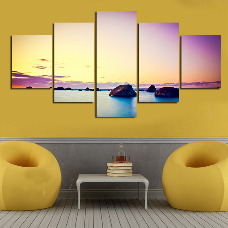 2017 Painting High Quality 5 Pieces Wall Art Big Size Picture Home ...