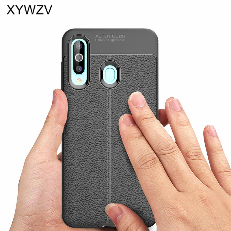 For Samsung Galaxy A60 Case Luxury PU leather Rubber Soft Silicone Phone Case For Samsung Galaxy A60 Back Cover For Samsung A60 in Fitted Cases from Cellphones Telecommunications