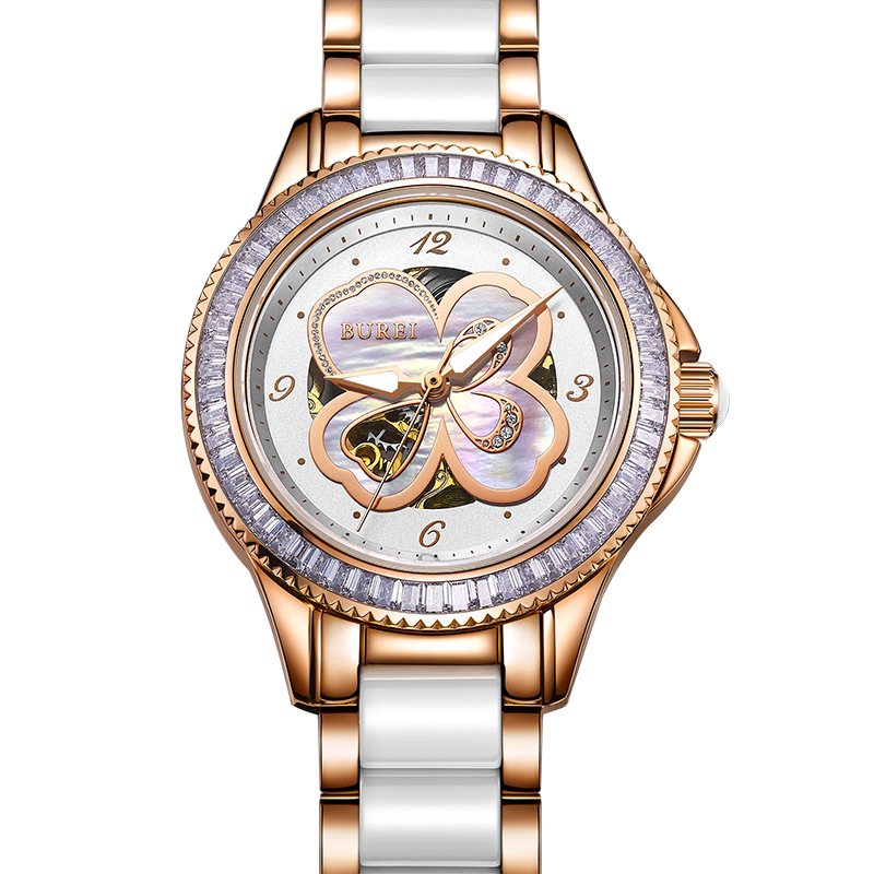 BUREI Gold Watch Women Rhinestone Luxury Mechanical Watches Diamond 50ATM Lady Dress Wristwatch Sapphire Clock Women Reloj Mujer famous brand full diamond luxury women watch lady dress watch rhinestone bling crystal bangle watches female reloj mujer
