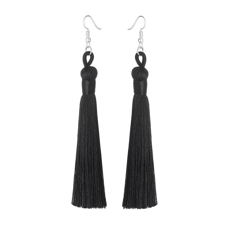 LOVBEAFAS Boho Drop Tassel Women Earrings Long Fringe Dangle Earrings Silk Fabric Rope Wrap Ethnic Vintage 2019 Fashion Jewelry