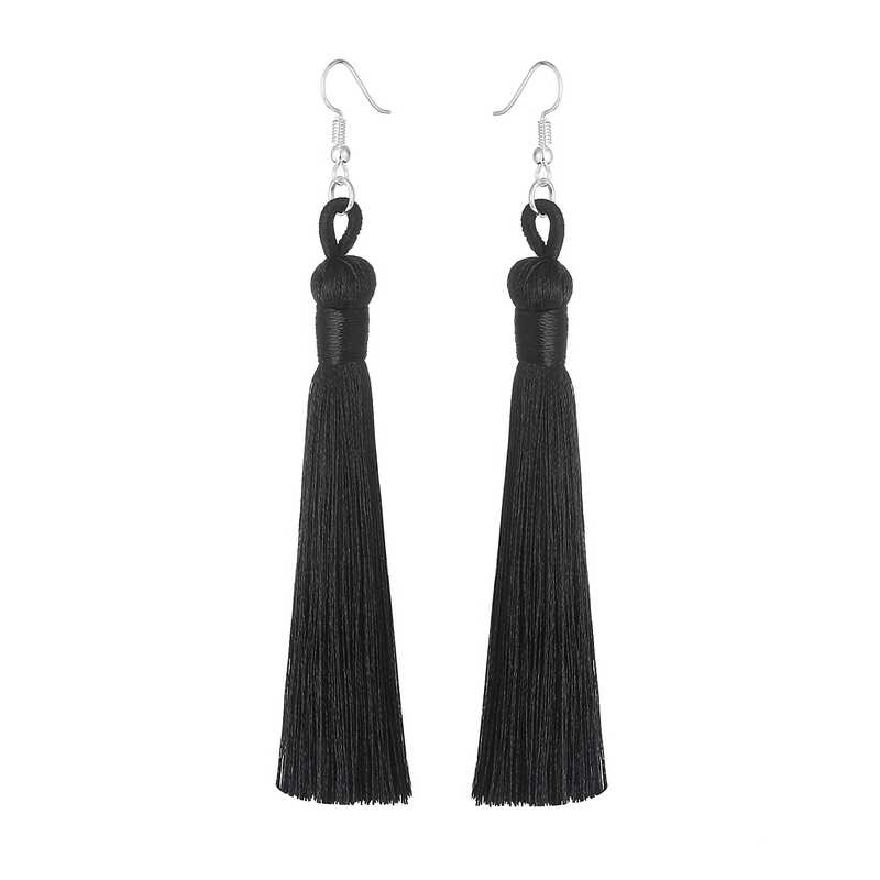 LOVBEAFAS Boho Drop Tassel Women Earrings Long Fringe Dangle Earrings Silk Fabric Rope Wrap Ethnic Vintage 2019 Fashion Jewelry