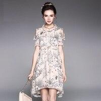 Women Summer Elegant Floral Chiffon Dress Ruffled Collar Off The Shoulder Beautiful Asymmetrical Party Dress Plus