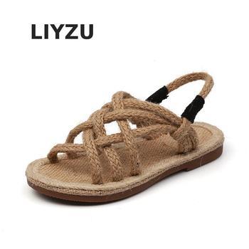 Été nouveaux enfants sandales pour garçons filles fond mou Roman chaussures de plage enfants lin bout ouvert sandale mode antidérapant chaussures décontractées