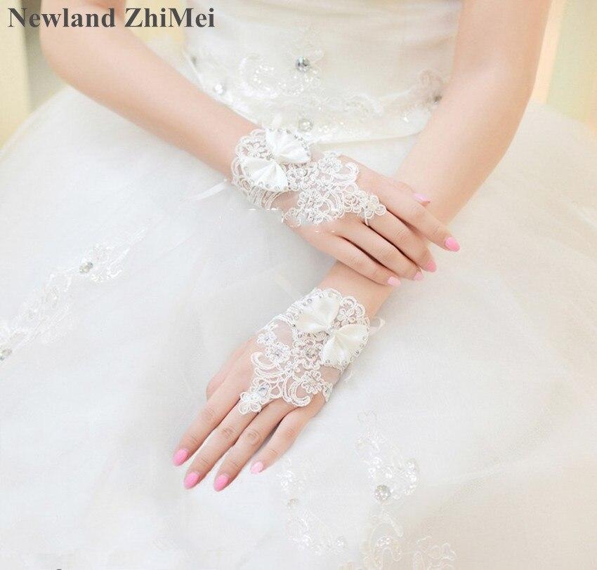 Newland ZhiMei Cheap Ivory Fingerless Gloves Short Paragraph Elegant Rhinestone Bridal Wedding Gloves Accessoire Mariage 2019(China)