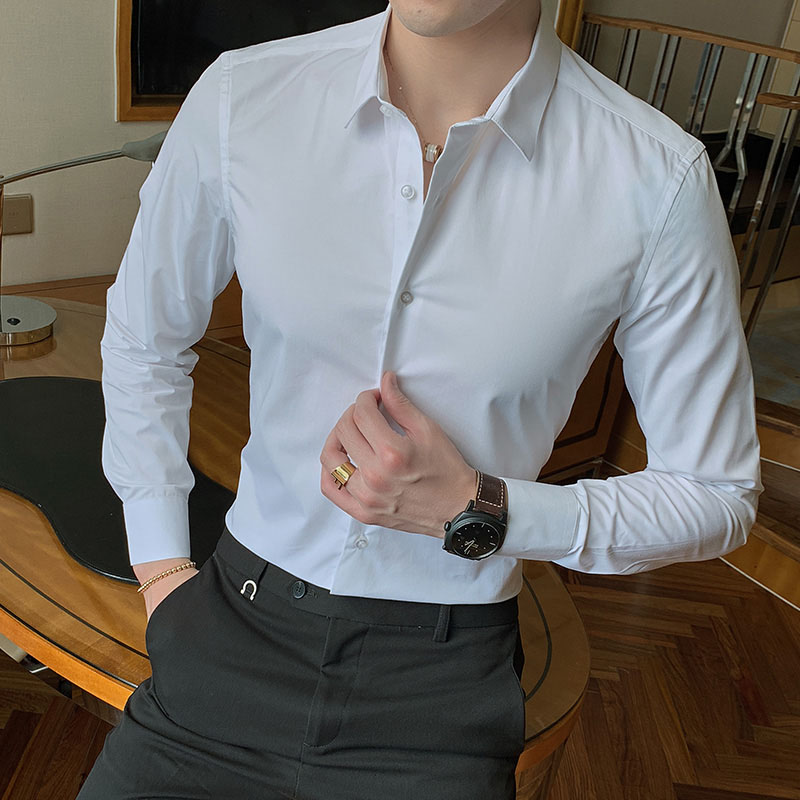2020 New Fashion Cotton Long Sleeve Shirt Solid Slim Fit Male Social Casual Business White Black Dress Shirt 5XL 6XL 7XL 8XL 1