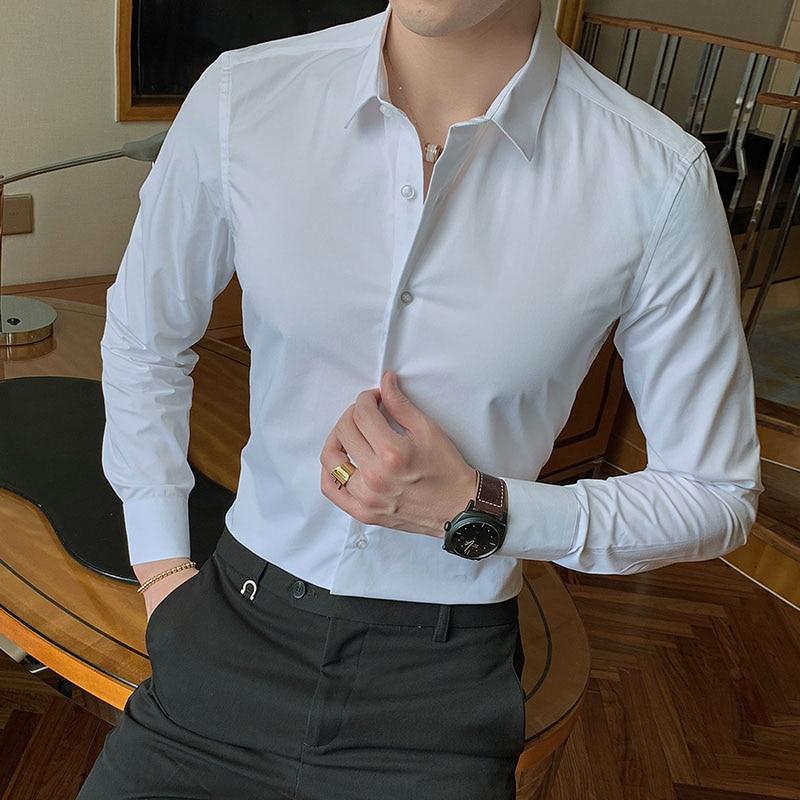2021 New Fashion Cotton Long Sleeve Shirt Solid Slim Fit Male Social Casual Business White Black Dress Shirt 5XL 6XL 7XL 8XL 1