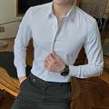 2019 nouvelle mode coton à manches longues chemise solide coupe cintrée homme Social décontracté affaires blanc noir robe chemise 5XL 6XL 7XL 8XL Robes chemises     -