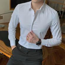 2020 New Fashion Cotton Long Sleeve Shirt Solid Slim Fit Male Social Casual Business White Black Dress Shirt 5XL 6XL 7XL 8XL cheap Jwoglt CN(Origin) Polyester Dress Shirts Full Turn-down Collar Single Breasted Regular men shirts Broadcloth Smart Casual