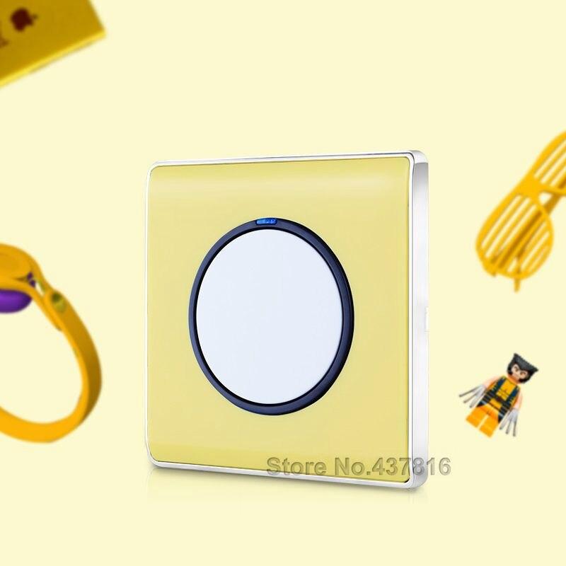 Alta calidad colorido amarillo interruptor de clic, 1 Gang 1Way/2Way, LED Nightlight luz interruptor de presión interruptor de pared interruptor de botón