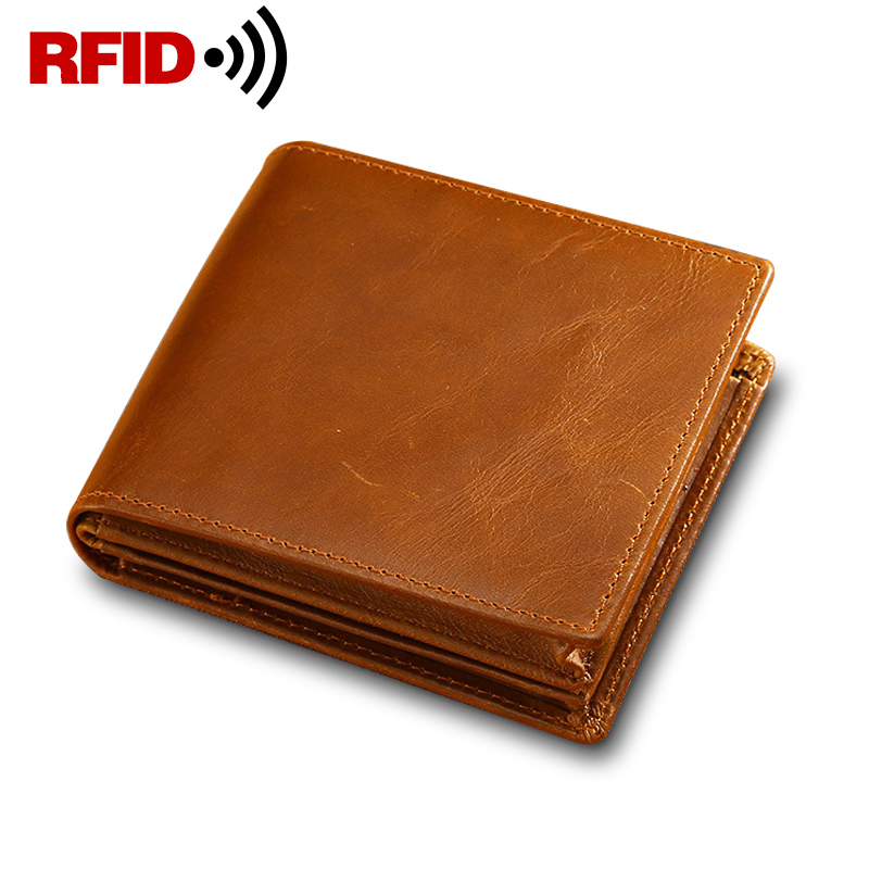 RFID Theft Protec Genuine Leather Men Wallets Small Vintage Wallet Male Money Purses Organizer Purse Billfold Coin Pocket standard a4 genuine black leather cover notebook handmade loose leaf kraft line page paper imprint leather monogram notebook