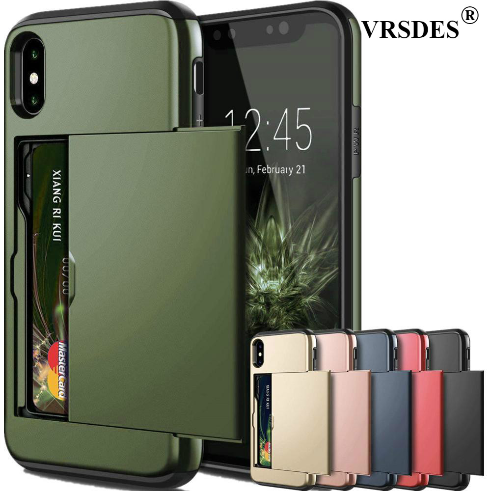 Armor Slide Card Case For IPhone X XS Max XR 7 8 Card Slot Holder Cover For IPhone 7