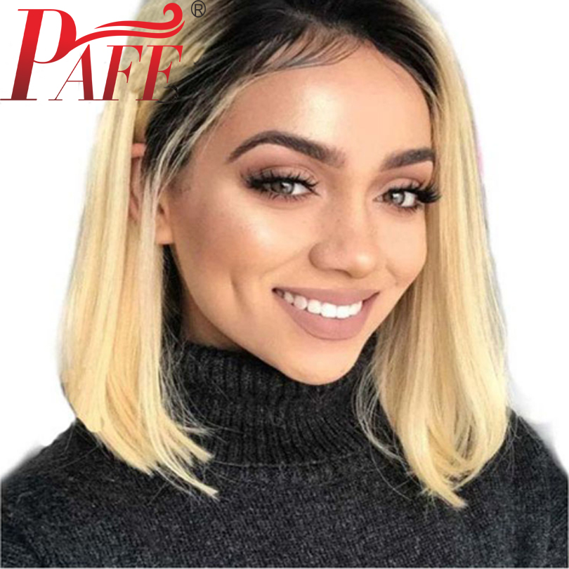 PAFF 1B 613 Color Ombre Short Bob Human Hair Lace Front Wigs Brazilian Remy Hair Front Lace Wigs Pre Plucked Bleacked Knots