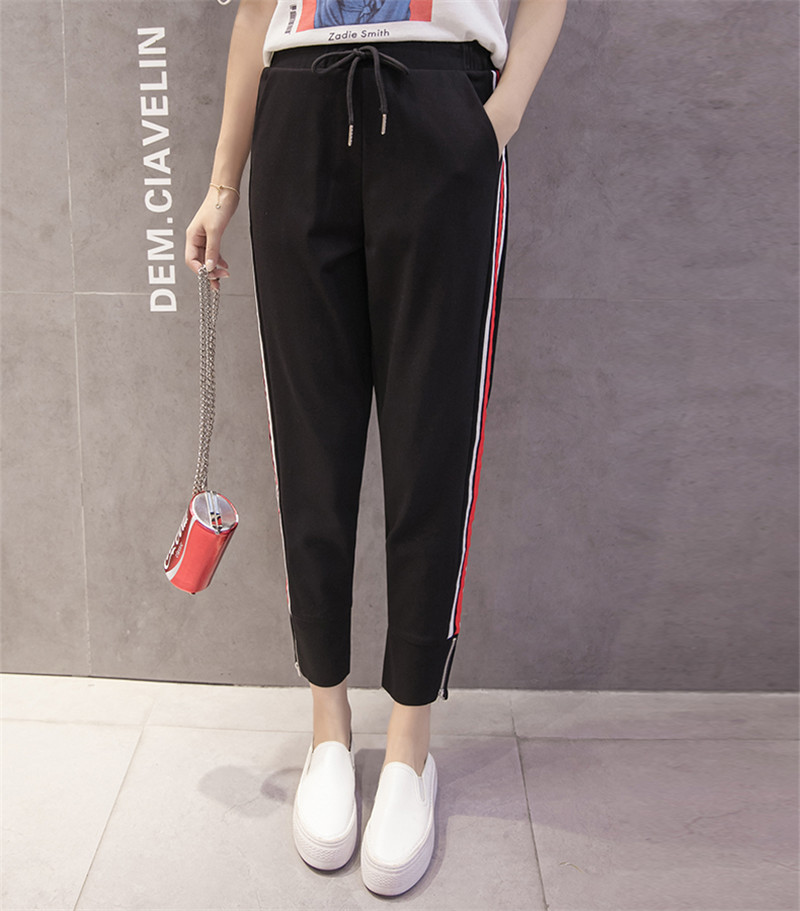perfect quality complimentary shipping bottom price Red White Striped Pant Sweatpants Women Side Stripe Trousers ...