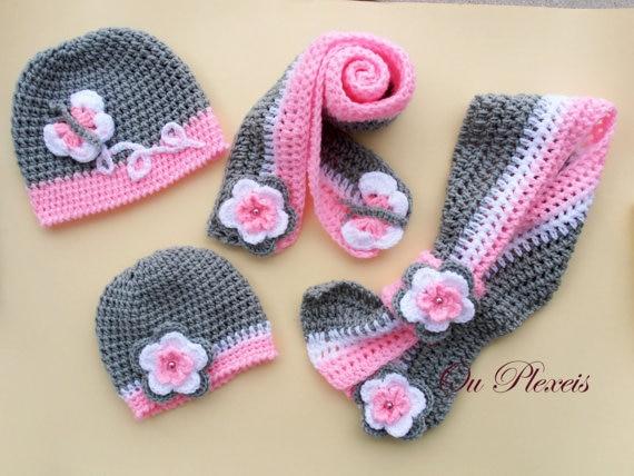 Häkeln set hut und schal, baby mädchen häkeln grau und rosa mütze ...
