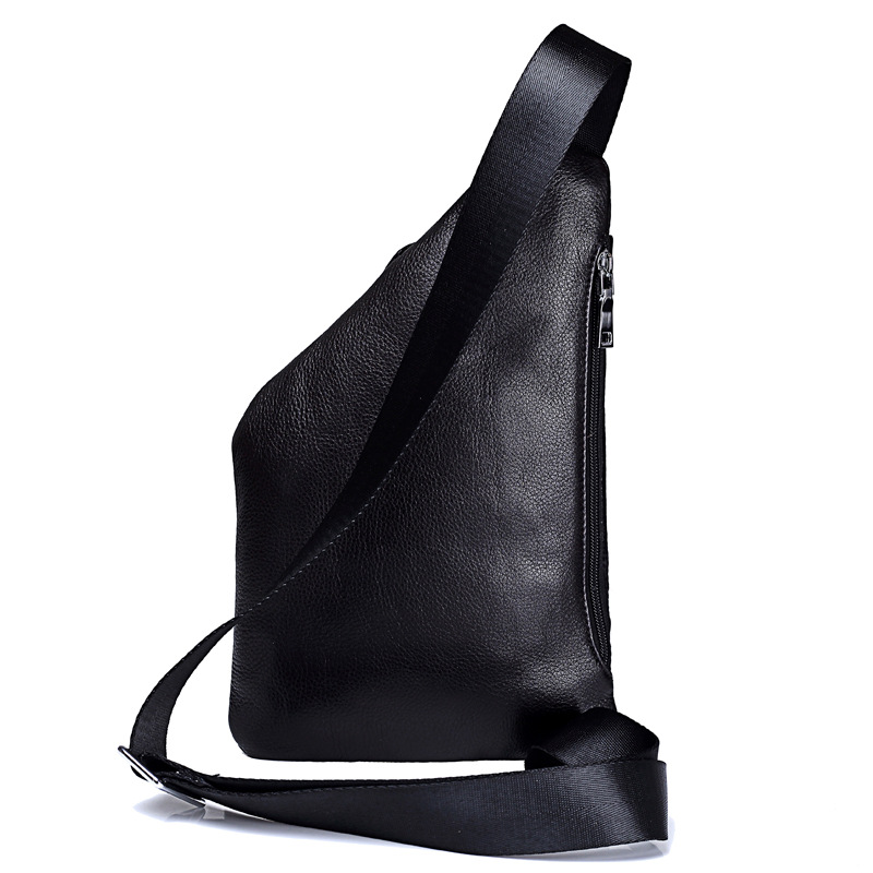 Men genuine leather bag Unique oblique zipper Chest pack Water droplet shape design casual shoulder bags Cowhide digital bag in Crossbody Bags from Luggage Bags