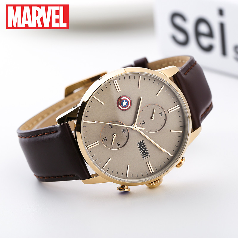 Disney official Marvel Avengers captain america  shell men quartz Watches Leather steel calendar Luxury M-9033 Relogio MasculinoDisney official Marvel Avengers captain america  shell men quartz Watches Leather steel calendar Luxury M-9033 Relogio Masculino