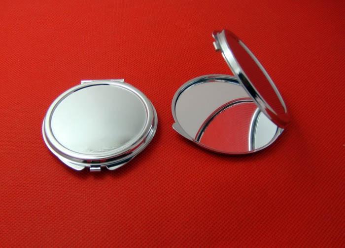 Ücretsiz kargo 10 adet Gümüş Boş Kompakt Ayna Yuvarlak Metal - Cilt Bakımı Aracı - Fotoğraf 4