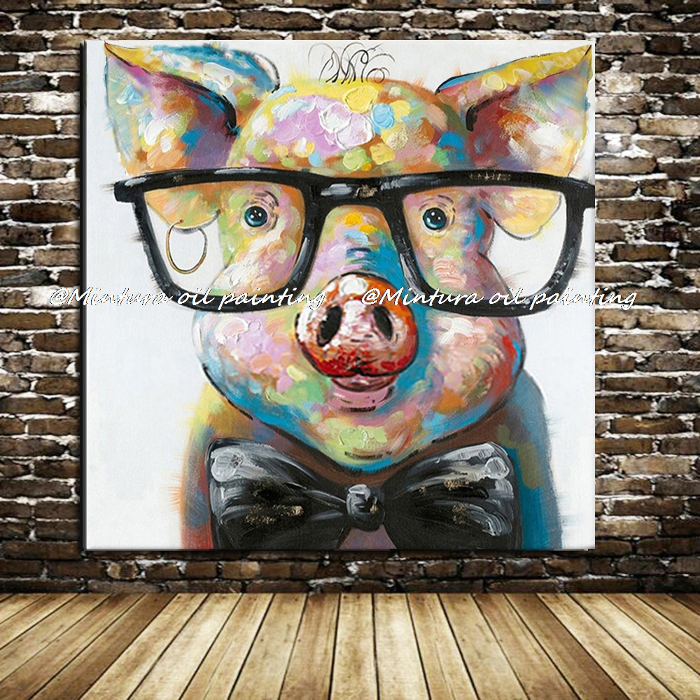 Hand painted modern abstract cartoon animal oil painting for How paint on canvas