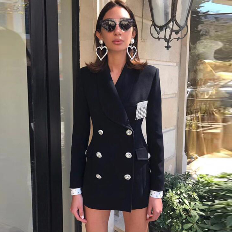 HIGH QUALITY Newest Fashion 2020 Designer Blazer Women's Double Breasted Crystal Diamonds Buttons Blazer Coat