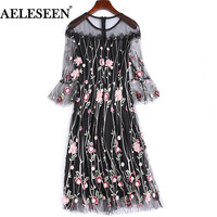Black Mesh Mini Dresses Korean Retro 3 4 Flare Sleeve Fashion Beaded 2018 Summer Dress Floral