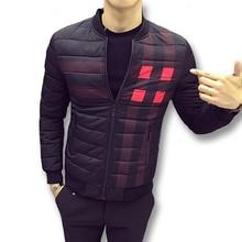 2017 Men Winter Cotton Plaid Jackets and Coats Jaqueta Masculina Men's Casual Fashion Slim Fits Zipper Jackets Streetwear Male