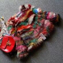 Daisy & Na Coat Jacket Hot Women Multi-Color 100% Real Genuine Raccoon Fur 215