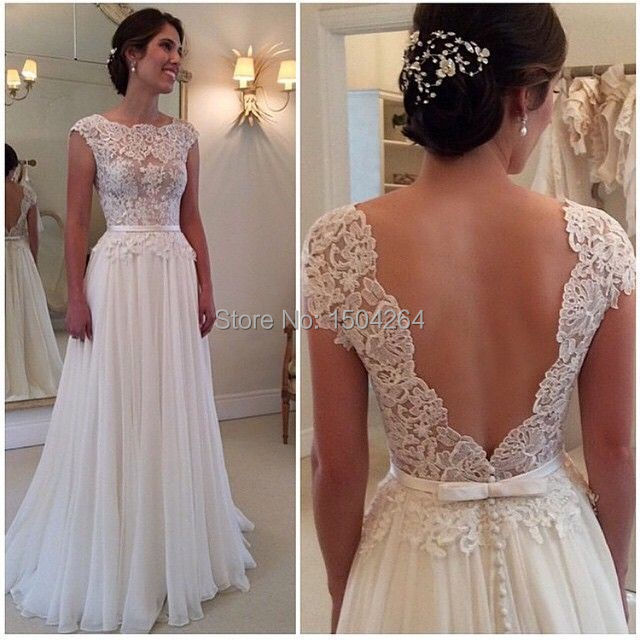 3e9397a1a04 White Long Chiffon Backless Prom Dresses Lace A Line Floor Length Dress For  Prom Short Sleeve Vestidos Largos De Fiesta