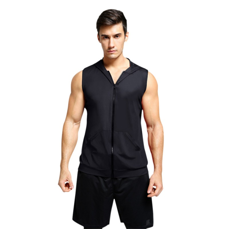 Men Casual Sleeveless Quick-drying Breathable Bottoming Hooded Vest Sports Tops