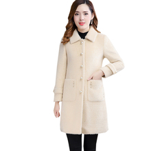 Fashion Mink Fur Parkas Women Long Single Breasted Slim Thicken Warm Jackets 2018 Winter Ladies Woolen Coats Tops FP1779