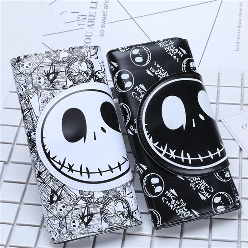 The Nightmare Before Christmas Jack Skellington Zipper Cartoon Fashion Long PU Wallet Coin Purse Clutch Bag