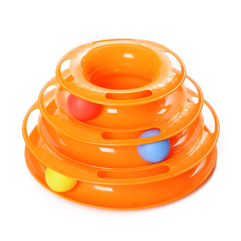 Three Levels Tower Tracks Disc Cat Pet Toy Intelligence Amusement Rides Shelf dog cat toys Training Amusement Trilaminar ball